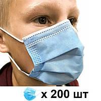 Детская медицинская маска паянная трехслойная с зажимом для носа (200 штук)