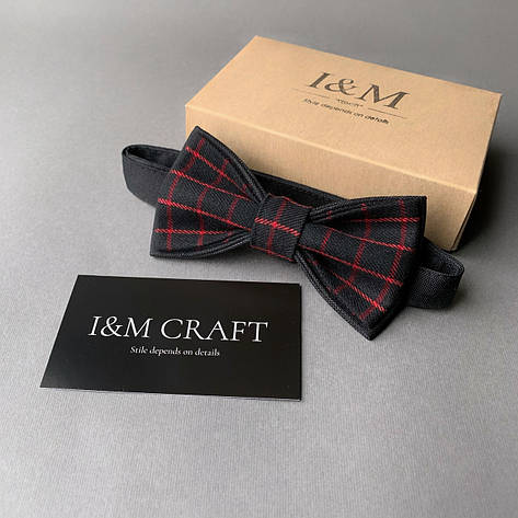 Краватка-метелик I&M Craft чорний в червону клітку (010431), фото 2