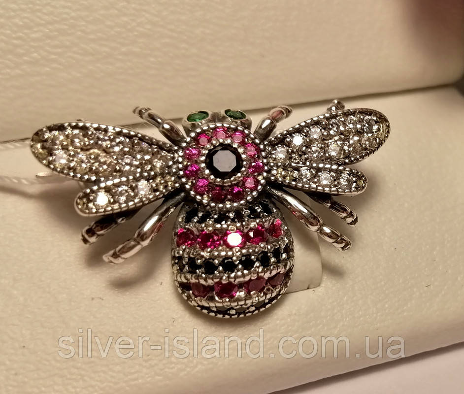 Срібна брошка з рожевим цирконом Джміль