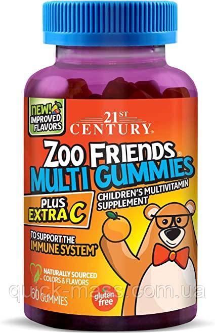 Мультивитамины для детей с витамином С, Zoo Friends Multi Gummies, Plus Extra C, 21st Century, 60 желейок