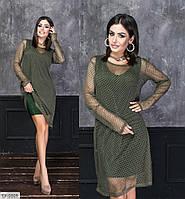 Стильное молодежное люрексовое платье-двойка с накидкой из сетки Размер: 42-44, 46-48 арт. 6068
