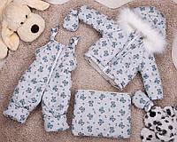 Серый детский комбинезон тройка с принтом мишек для мальчиков, фото 1