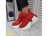 Кроссовки деми на высокой платформе красные 36, 37, 38, 41 (2349), фото 7