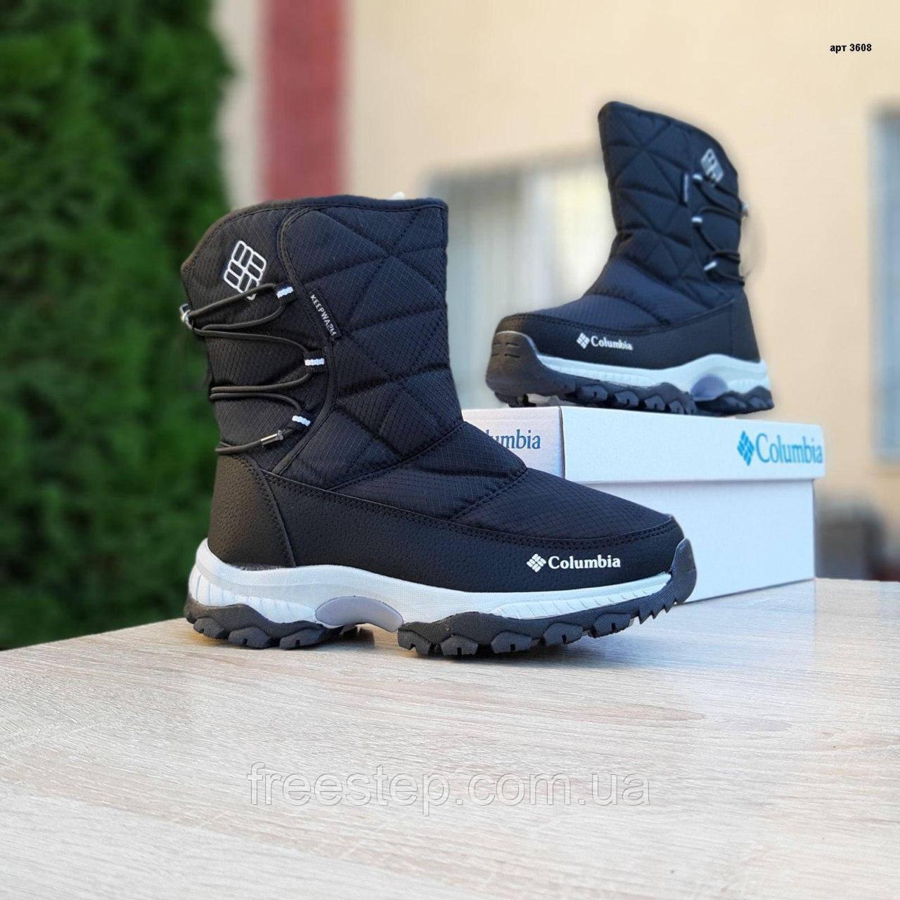 Жіночі зимові чоботи чорні з білим