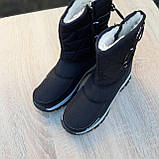 Жіночі зимові чоботи чорні з білим, фото 6