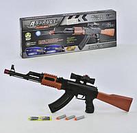 Автомат музичний в коробці гел.пулі, пулі-присоски 67см  AK47-1