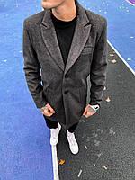Пальто мужское темно-серое  с бортами, фото 1