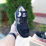 Жіночі зимові кросівки 574 чорні з білим, фото 6