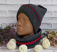 Комплект женский шапка и шарф-снут осень зима