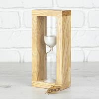 Часы песочные на 10 мин тип 4 исп. 27 200*50*90 мм основание натуральное дерево песок белый (300531)