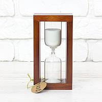 Часы песочные на 10 мин тип 4 исп. 27 200*50*90 мм основание вишня песок белый (300584)