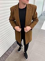 Пальто мужское капучино с бортами