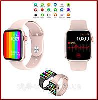 Смарт часы UWatch W26 Pink с bluetooth звонком и с ЭКГ, Умные часы (пульс, давление, температура, ЭКГ) Розовые