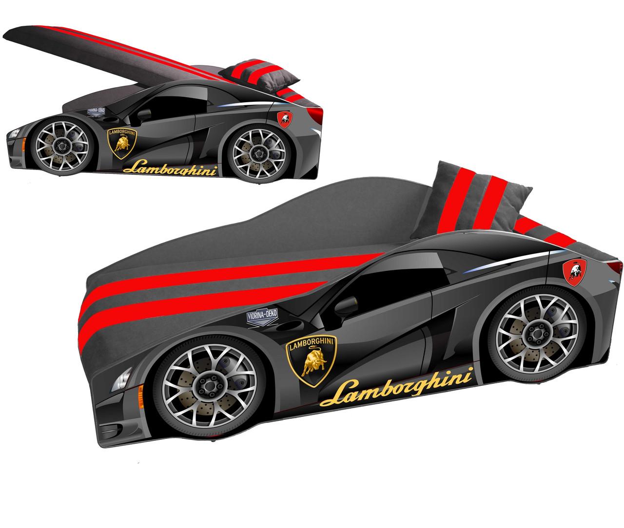 Детская кровать машина Элит Э-3 Lamborghini мягким спойлером, подушкой и подъемным механизмом ТМ Viorina-Deko