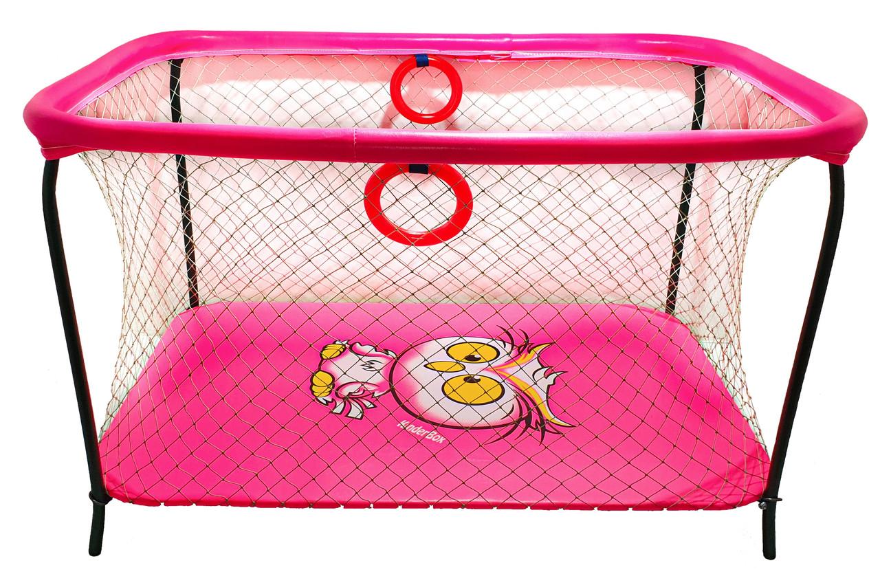 Манеж детский игровой KinderBox люкс Малиновый сова с крупной сеткой (R 97)