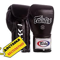 Боксерские перчатки кожаные профессиональные FAIRTEX на шнуровке Натуральная кожа Черные (BGL6) 10 унций
