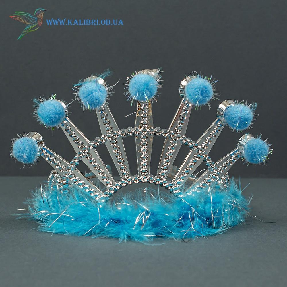 Новогодняя карнавальная корона Праздник голубая ТЛ-22