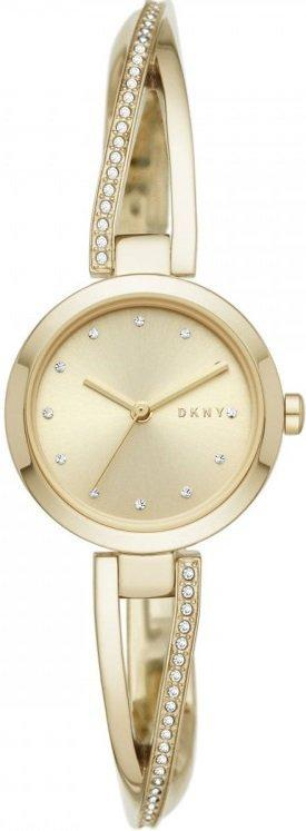 Часы наручные женские DKNY NY2830 кварцевые, с фианитами, цвет желтого золота, США