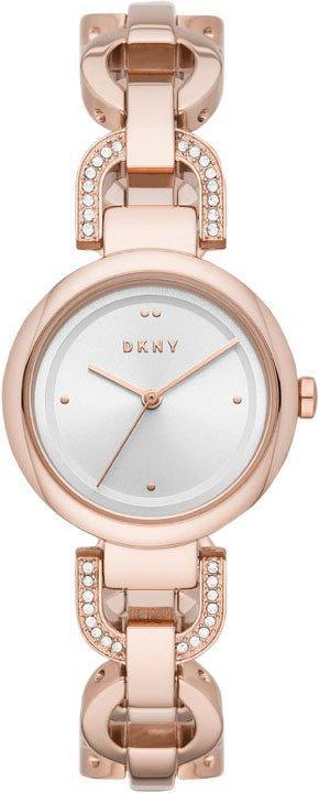 Часы наручные женские DKNY NY2851 кварцевые, браслет с фианитами, цвет розового золота, США