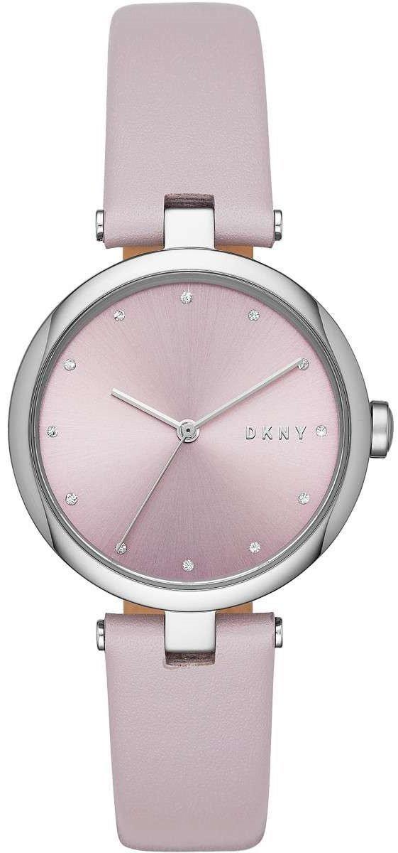 Часы наручные женские DKNY NY2813 кварцевые, сталь, лиловый ремешок из кожи, США