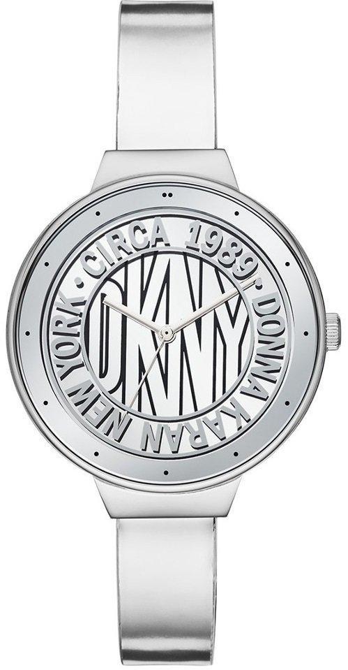 Часы наручные женские DKNY NY2801 кварцевые, серебристый ремешок из кожи, США