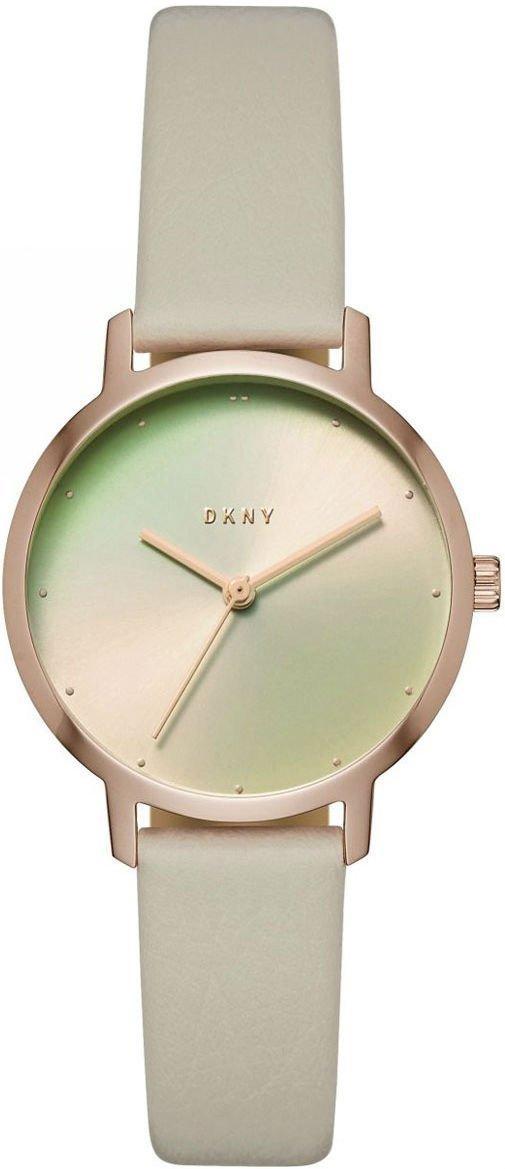 "Часы наручные женские DKNY NY2740 кварцевые, циферблат ""хамелеон"", бежевый ремешок, США"