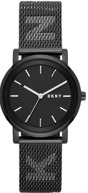 """Часы наручные женские DKNY NY2704 кварцевые, """"миланский"""" браслет с логотипом, черные, США"""