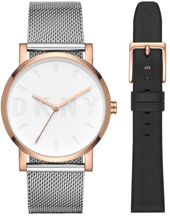 Часы наручные женские DKNY NY2663 кварцевые на браслете и с кожаным ремешком в комплекте, США