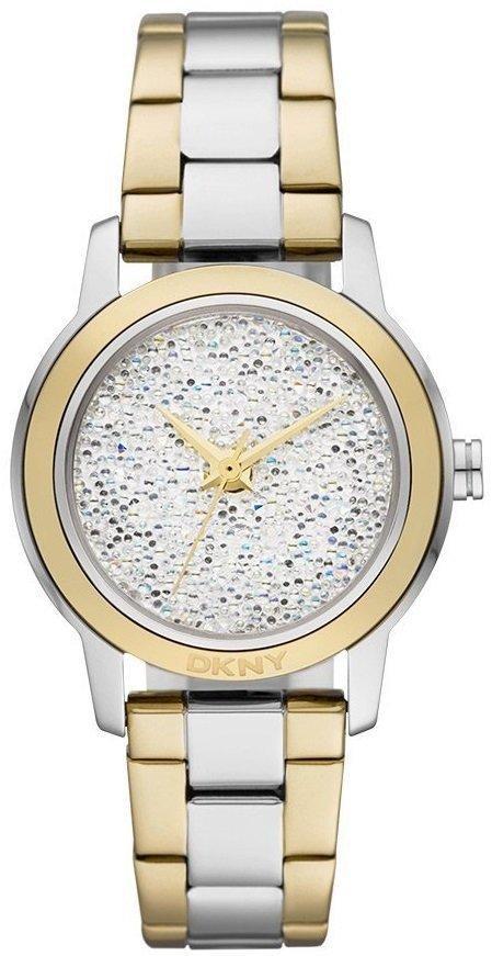 Часы наручные женские DKNY NY8775 кварцевые, с кристаллами Swarovski, биколорные, США