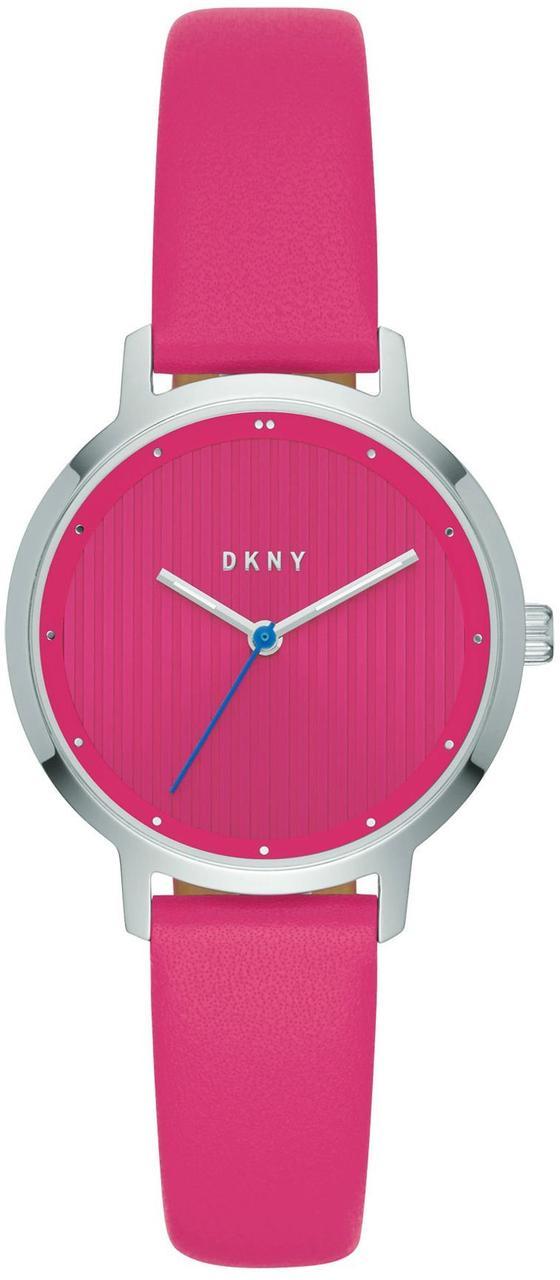 Часы наручные женские DKNY NY2674 кварцевые с розовым кожаным ремешком, США