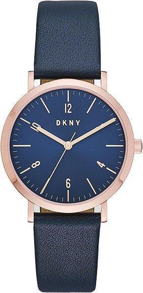 Часы наручные женские DKNY NY2614 кварцевые, с арабскими цифрами, синий ремешок, США
