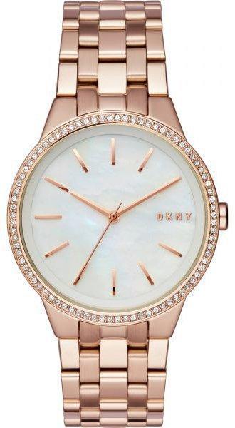 Часы наручные женские DKNY NY2581 кварцевые, с фианитами, цвет розового золота, США