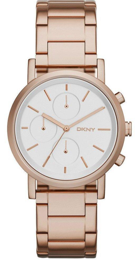 Часы-хронограф наручные женские DKNY NY2275 кварцевые на браслете, цвет розового золота, США