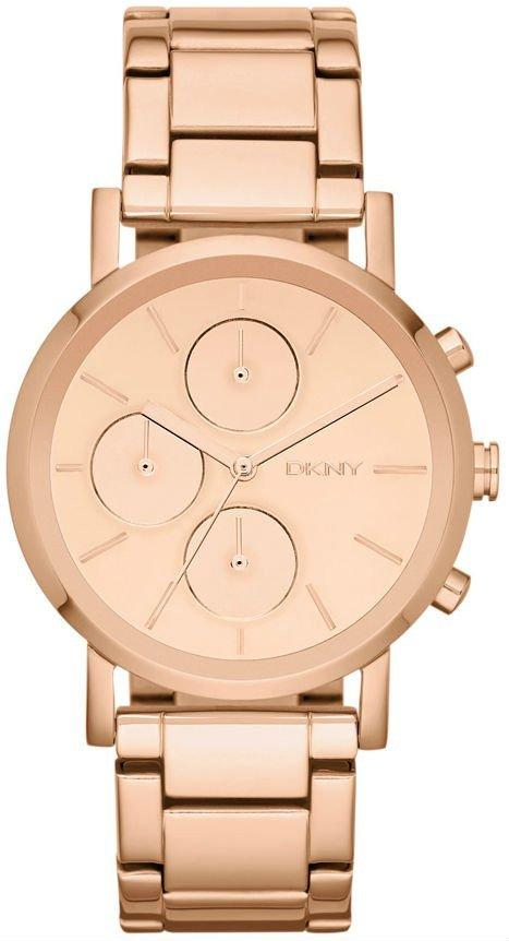 Часы-хронограф наручные женские DKNY NY8862 кварцевые, цвет розового золота, США