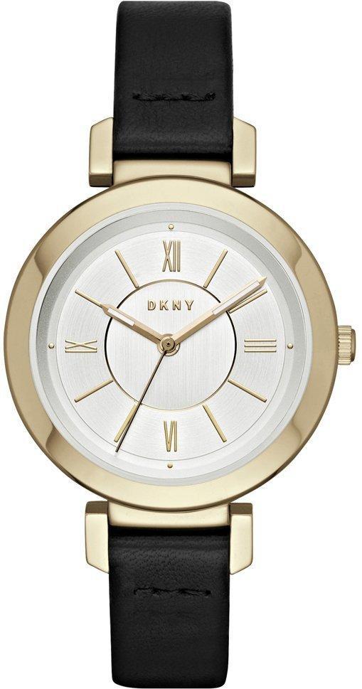 Часы наручные женские DKNY NY2587 кварцевые на черном кожаном ремешке, США