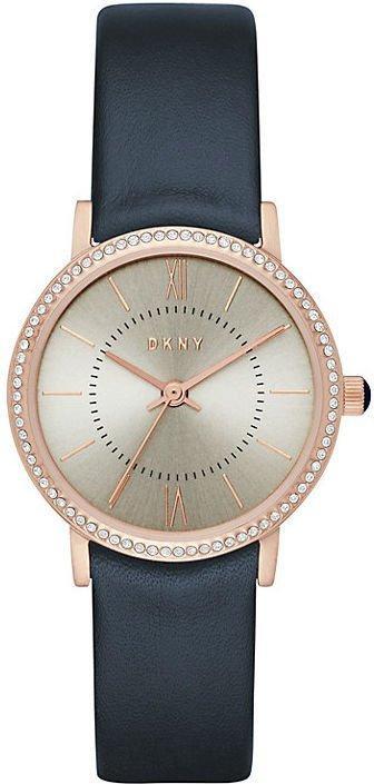 Часы наручные женские DKNY NY2553 кварцевые, синий кожаный ремешок, США