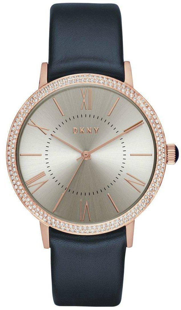 Часы наручные женские DKNY NY2546 кварцевые, синий кожаный ремешок, США