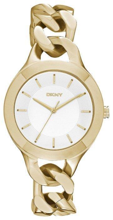 Часы наручные женские  DKNY NY2217 кварцевые, браслет-цепочка, золотистые, США