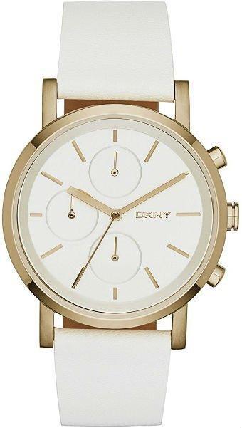 Часы-хронограф наручные женские DKNY NY2337 кварцевые на белом кожаном ремешке, США