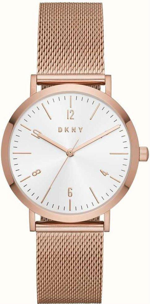 """Часы наручные женские DKNY NY2743 кварцевые, """"миланский"""" браслет цвета розового золота, США УЦЕНКА"""