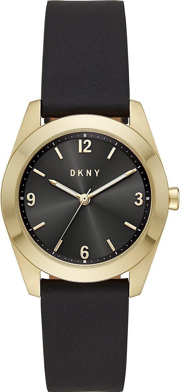 Часы наручные женские DKNY NY2876 кварцевые, черные, ремешок из кожи, США