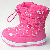 Детские дутики теплые на зиму для девочки сапоги розовые ромашка 25р 16см, фото 2