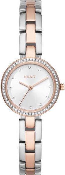 Часы наручные женские DKNY NY2827 кварцевые, с фианитами, цвет розового золота, США