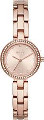 Часы наручные женские  DKNY NY2826 кварцевые, с фианитами, цвет розового золота, США