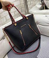 Каркасная женская сумка большая городская стильная вместительная черная кожзам, фото 1
