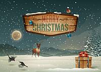 Ретро рождественская открытка, фото 1