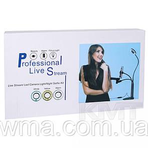 Лампа кольцевая LED 9 см настольная с держателем + зажим для микрофона