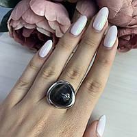 Серебряное кольцо SilverBreeze с кошачьим глазом 17 размер