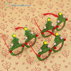 Новорічні окуляри Діда Мороза з ялинками