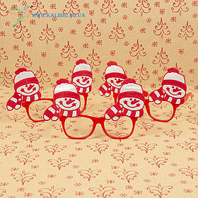 Новорічні окуляри Діда Мороза з сніговиками